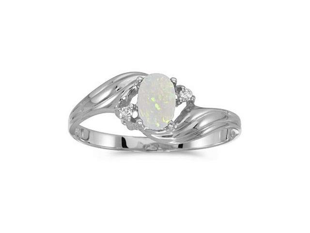 10k White Gold Oval Opal And Diamond Ring (Size 5.5)