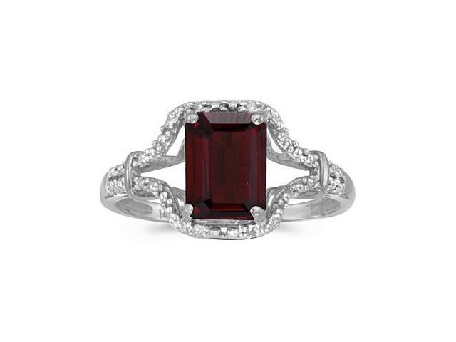10k White Gold Emerald-cut Garnet And Diamond Ring (Size 4.5)