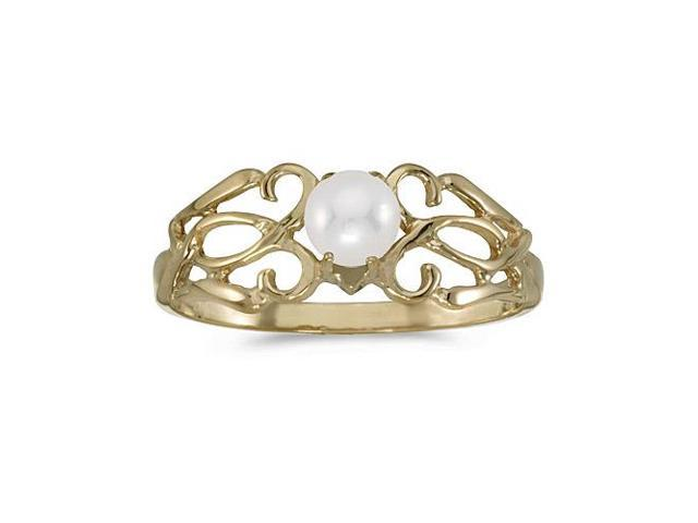 14k Yellow Gold Freshwater Cultured Pearl Filagree Ring (Size 9.5)
