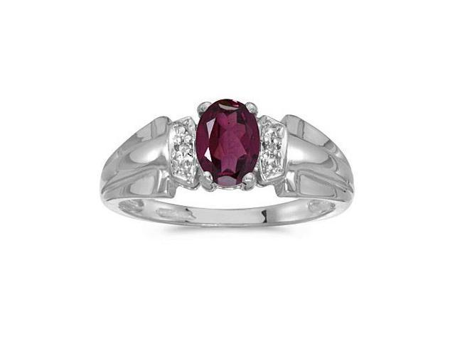 10k White Gold Oval Rhodolite Garnet And Diamond Ring (Size 9)