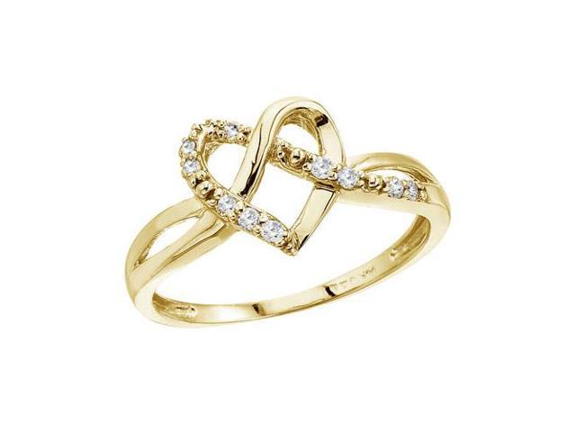 14K Yellow Gold .10 Ct Diamond Heart Ring (Size 8.5)