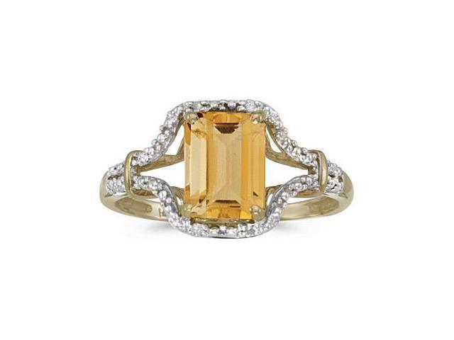 14k Yellow Gold Emerald-cut Citrine And Diamond Ring (Size 8.5)