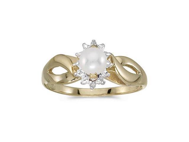 14k Yellow Gold Freshwater Cultured Pearl And Diamond Ring (Size 9)