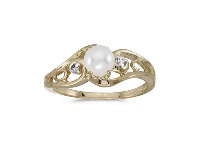 14k Yellow Gold Freshwater Cultured Pearl And Diamond Ring (Size 8.5)