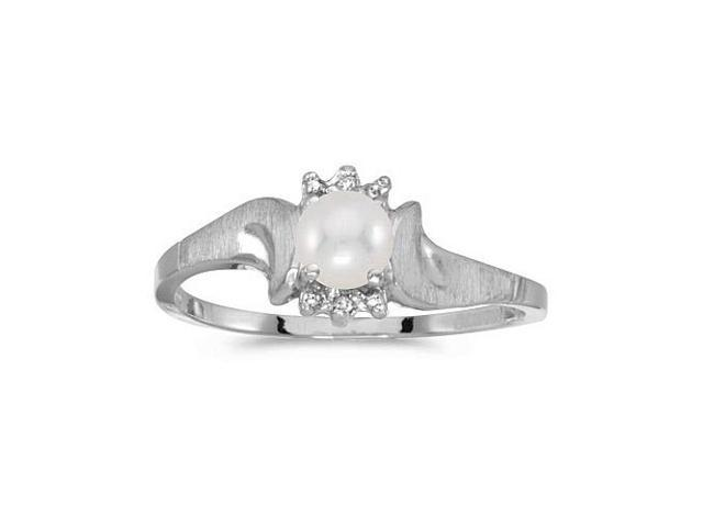 10k White Gold Freshwater Cultured Pearl And Diamond Satin Finish Ring (Size 5)