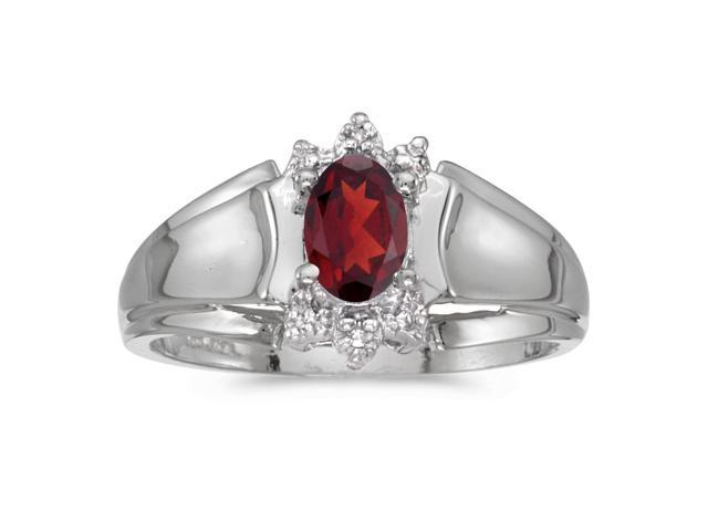 10k White Gold Oval Garnet And Diamond Ring (Size 5)