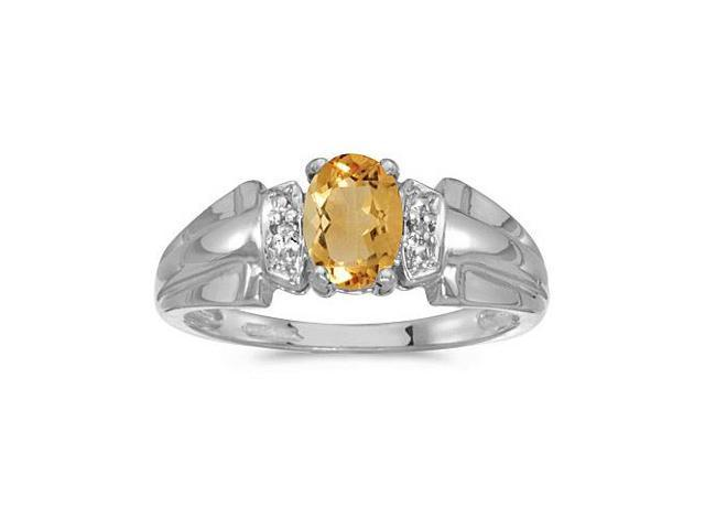 14k White Gold Oval Citrine And Diamond Ring (Size 5.5)