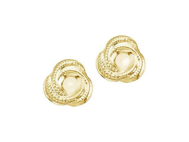 14K Yellow Gold Baby Knot Screwback Earrings