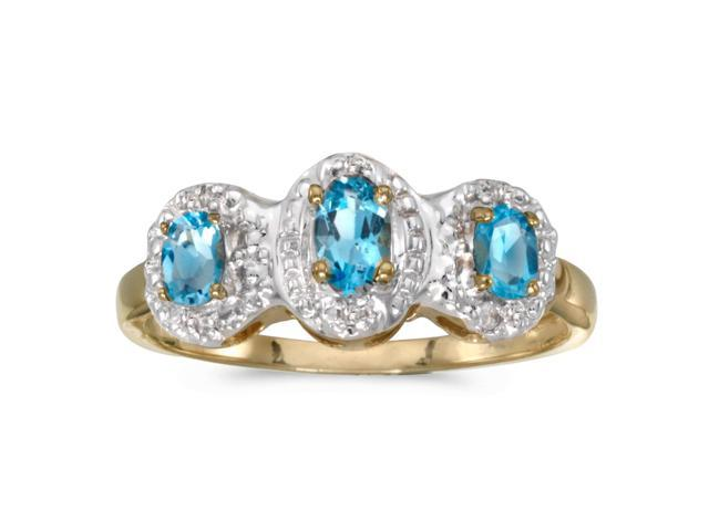 14k Yellow Gold Oval Garnet And Diamond Three Stone Ring (Size 5)