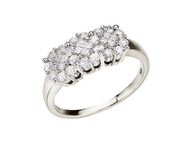 14K White Gold Diamond Clustaire Ring (Size 5.5)