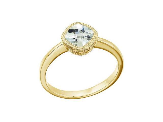 14K Yellow Gold 6 mm Cushion Green Amethyst Ring (Size 5.5)