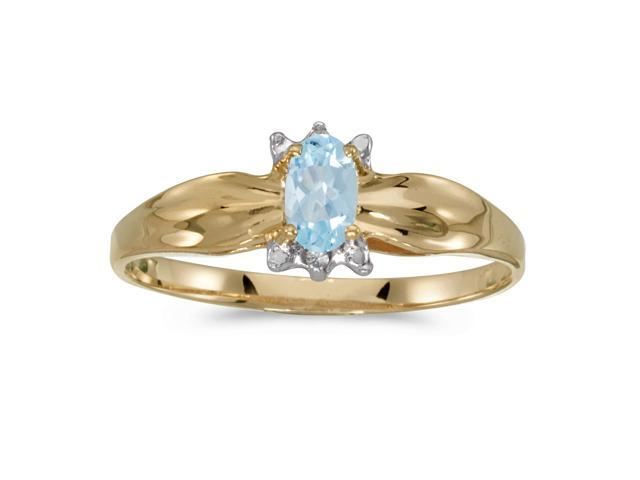 10k Yellow Gold Oval Aquamarine And Diamond Ring (Size 4.5)