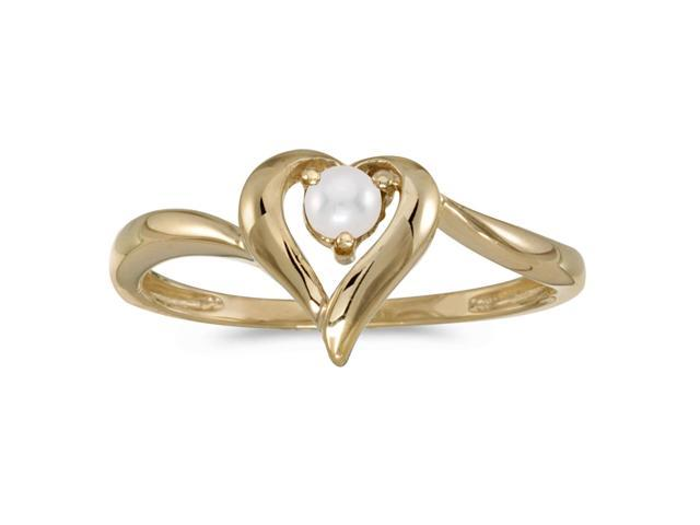 14k Yellow Gold Freshwater Cultured Pearl Heart Ring (Size 5)