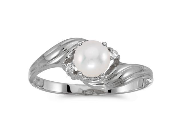 14k White Gold Freshwater Cultured Pearl And Diamond Ring (Size 5.5)