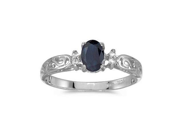 10k White Gold Oval Sapphire And Diamond Ring (Size 5.5)