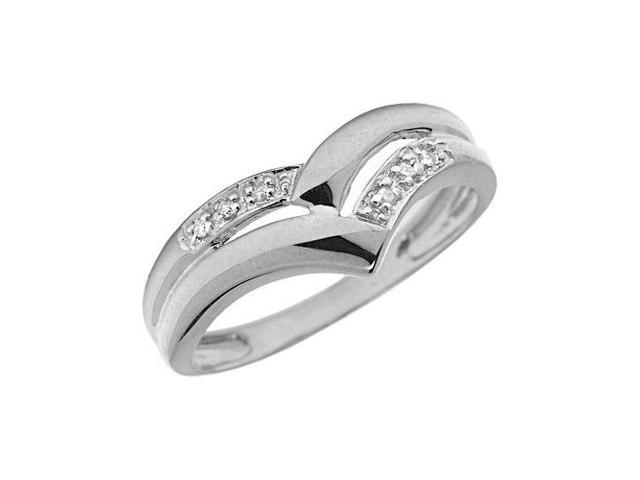 10K White Gold Diamond Chevron Ring (Size 5)
