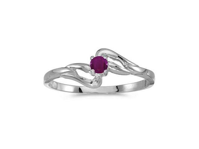 10k White Gold Round Ruby Ring (Size 6)