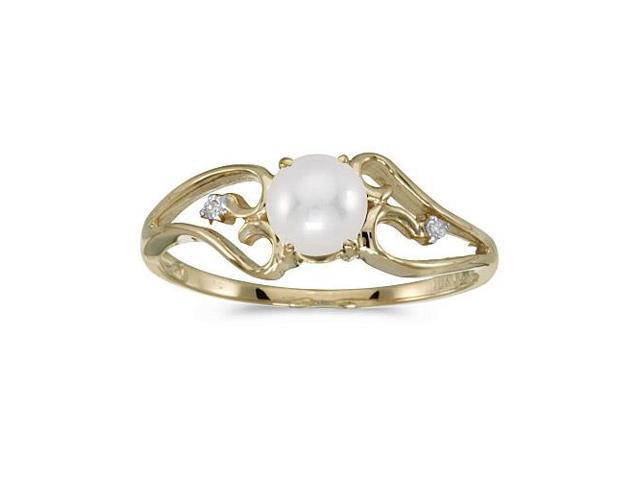 10k Yellow Gold Freshwater Cultured Pearl And Diamond Ring (Size 10.5)