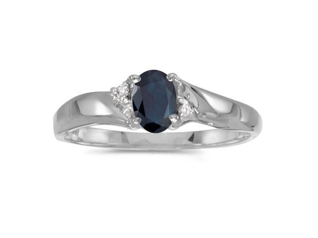 14k White Gold Oval Sapphire And Diamond Ring (Size 6.5)