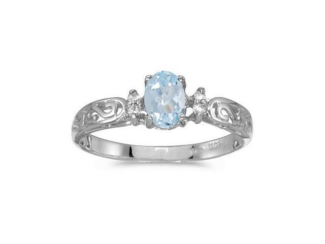 10k White Gold Oval Aquamarine And Diamond Ring (Size 6)