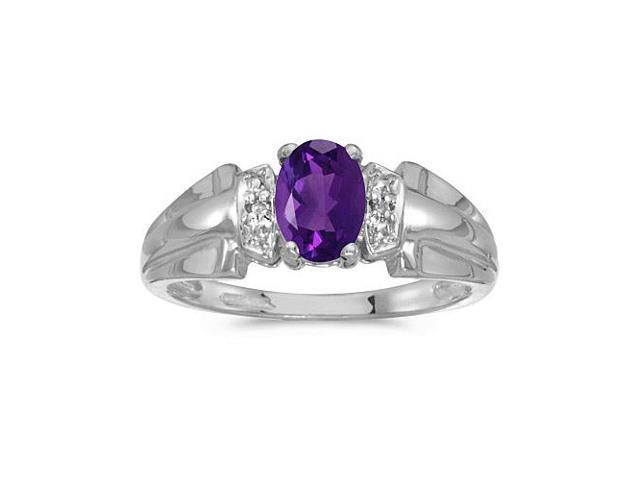 14k White Gold Oval Amethyst And Diamond Ring (Size 9.5)