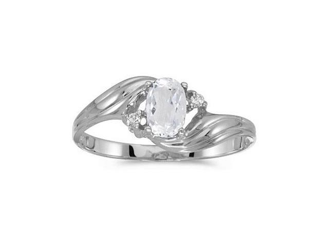 10k White Gold Oval White Topaz And Diamond Ring (Size 8.5)
