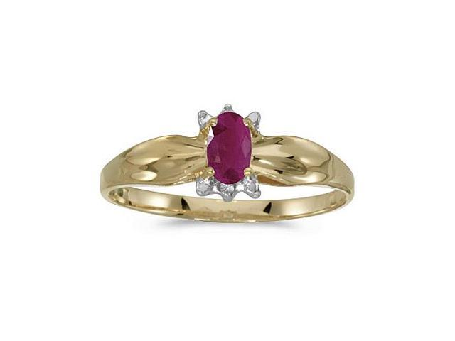 14k Yellow Gold Oval Ruby And Diamond Ring (Size 9)