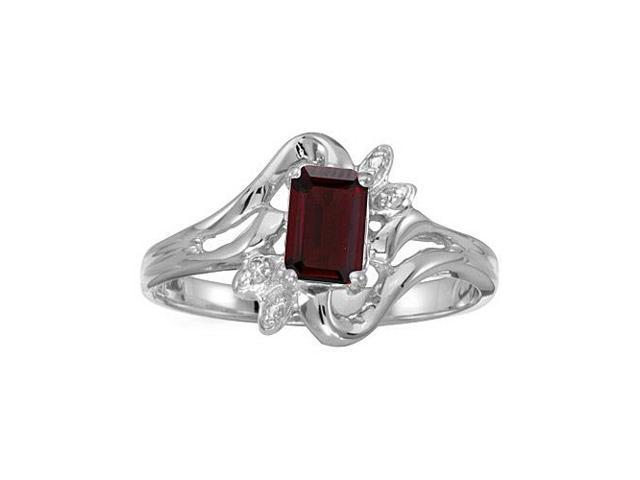 10k White Gold Emerald-cut Garnet And Diamond Ring (Size 9.5)
