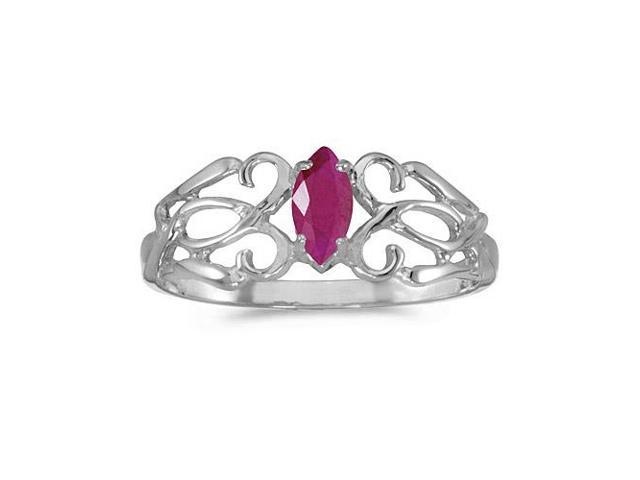 10k White Gold Marquise Ruby Filagree Ring (Size 4.5)