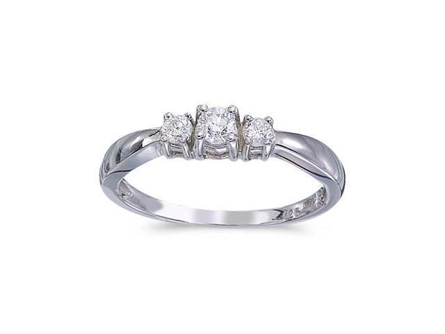 14k White Gold 0.25 Ct Three Stone Diamond Ring (Size 5)