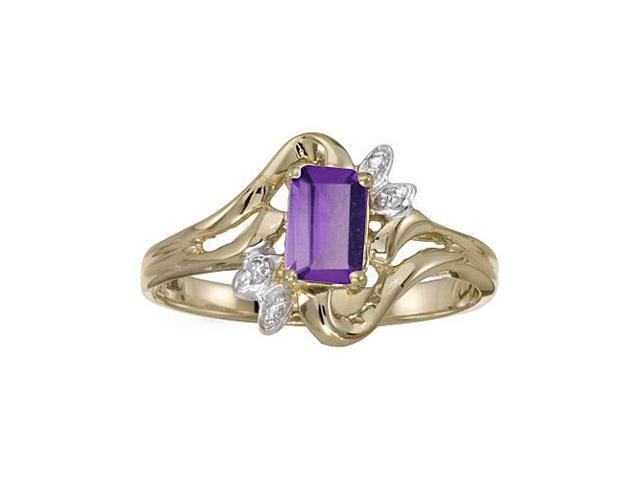 10k Yellow Gold Emerald-cut Amethyst And Diamond Ring (Size 5)