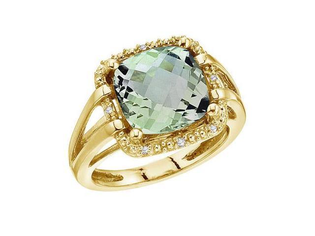 14K Yellow Gold 10 mm Green Amethyst and Diamond Rope Ring (Size 8)