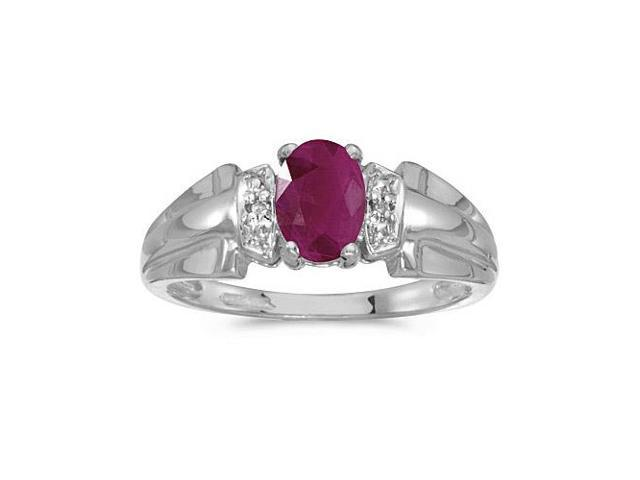 14k White Gold Oval Ruby And Diamond Ring (Size 7)