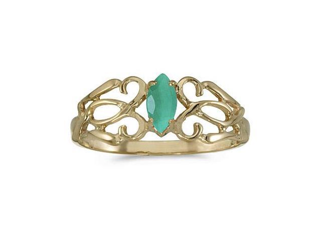 14k Yellow Gold Marquise Emerald Filagree Ring (Size 6)