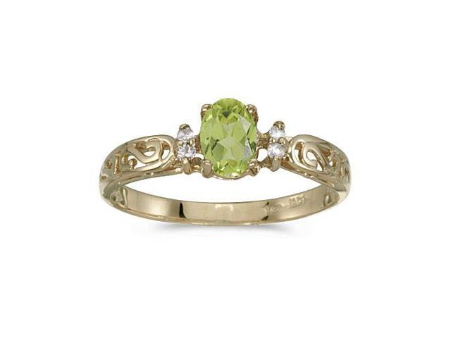 10k Yellow Gold Oval Peridot And Diamond Ring (Size 4.5)
