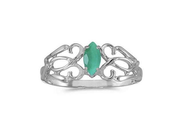 14k White Gold Marquise Emerald Filagree Ring (Size 5.5)