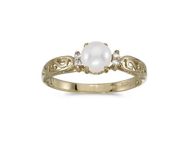 14k Yellow Gold Freshwater Cultured Pearl And Diamond Filagree Ring (Size 9.5)