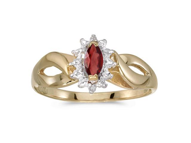 10k Yellow Gold Marquise Garnet And Diamond Ring (Size 7)