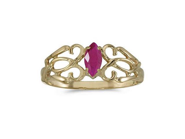 14k Yellow Gold Marquise Ruby Filagree Ring (Size 8.5)