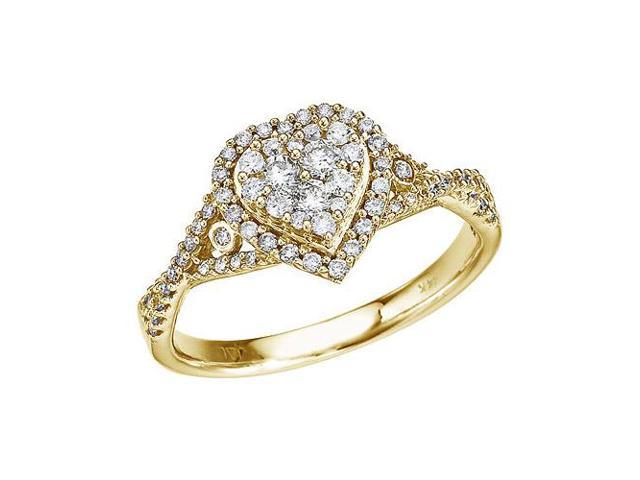 14K Yellow Gold .50 Ct Diamond Heart Ring (Size 6)