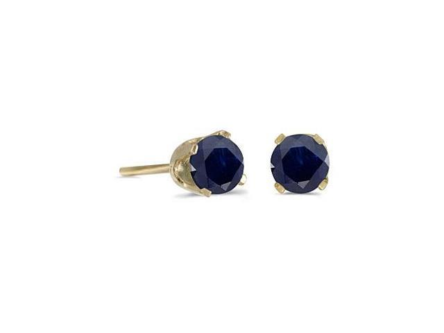 4 mm Round Natural Sapphire Stud Earrings in 14k Yellow Gold
