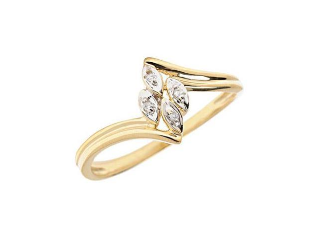 10K Yellow Gold Diamond Leaf Ring (Size 8)