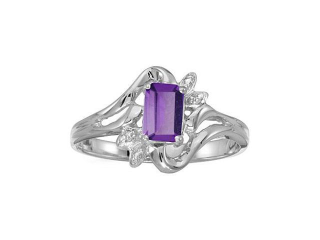 14k White Gold Emerald-cut Amethyst And Diamond Ring (Size 8)