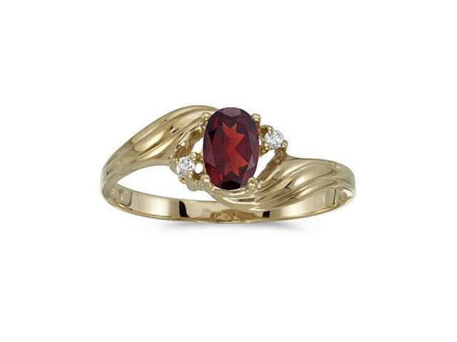 10k Yellow Gold Oval Garnet And Diamond Ring (Size 4.5)