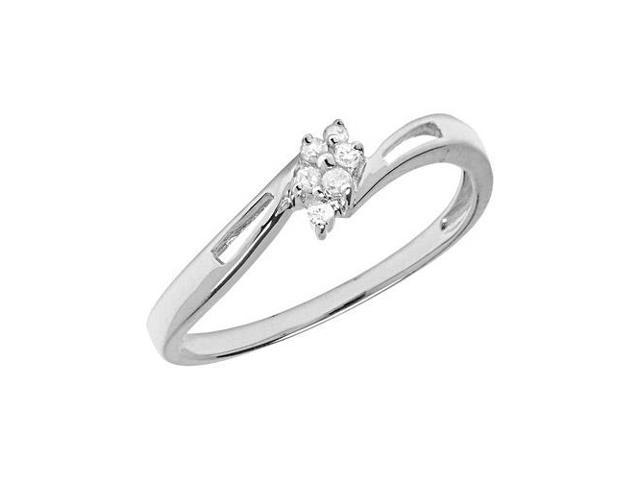 14K White Gold Diamond Cluster Ring (Size 7)