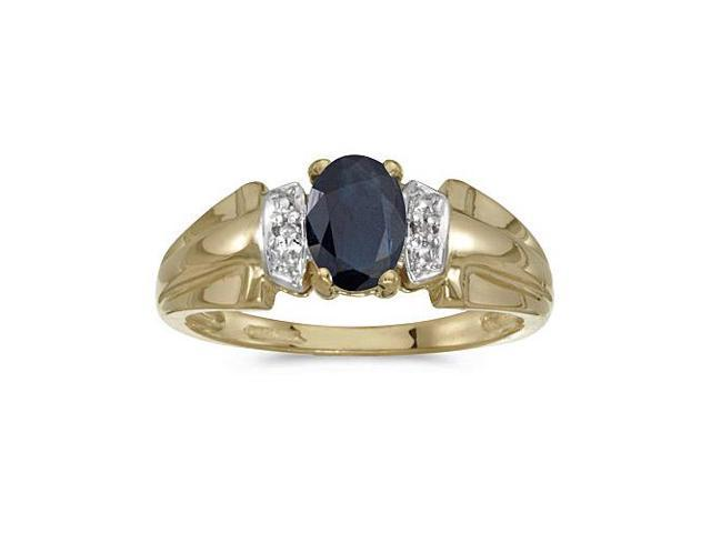 10k Yellow Gold Oval Sapphire And Diamond Ring (Size 6.5)