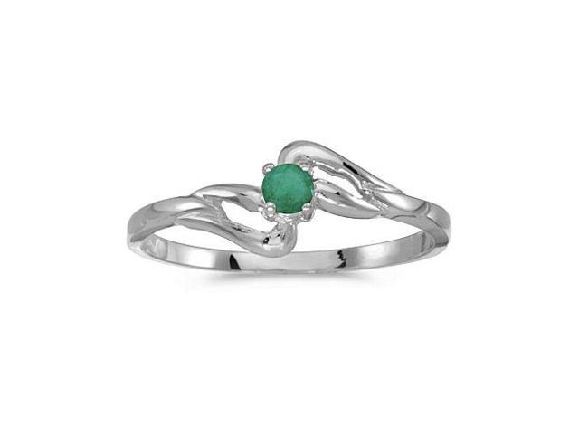 10k White Gold Round Emerald Ring (Size 4.5)
