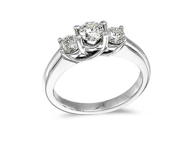 14k White Gold 1.00 Ct Three Stone Trellis Diamond Ring (Size 9)