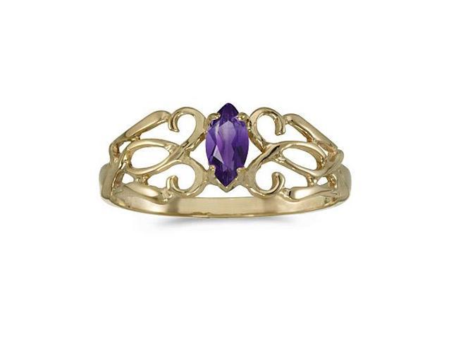14k Yellow Gold Marquise Amethyst Filagree Ring (Size 9)