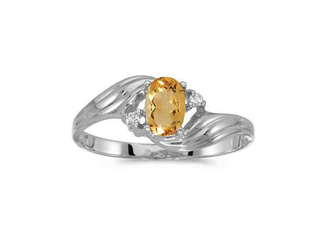 10k White Gold Oval Citrine And Diamond Ring (Size 4.5)